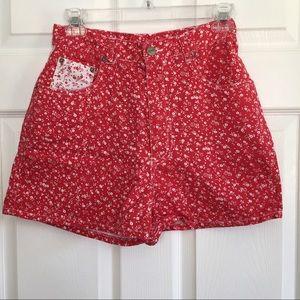 Pants - Vintage bandana print Mom shorts red white size S